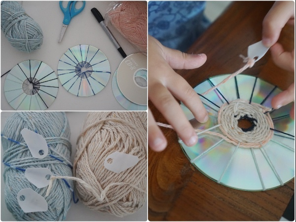 CD Weaving.[image] retrieved from https- goo.gl images 3TQUav_weaving-yarn-cd-upcycle-christmas-craft-ornament.jpg